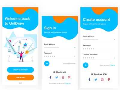 UniDraw - Drawing App painting app android app ios app app design creative clean drawing app signup screen login app ui