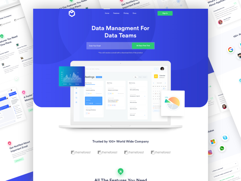 Data Management Landing Page creative app landing page software business illustration agency landing page saas solution clean ui ui clean design data management landing page clean agency