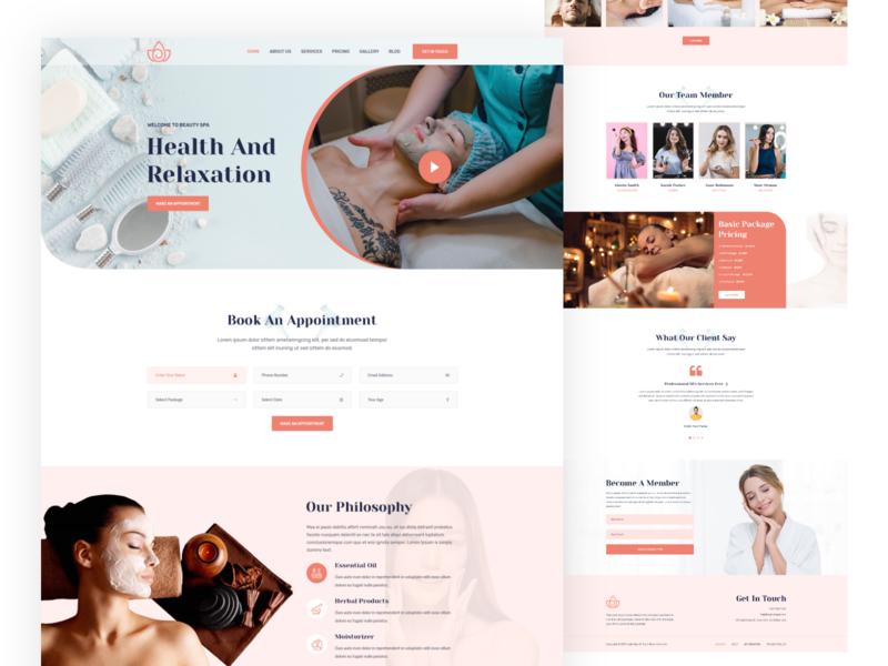 Beauty & Spa Website Design cosmetics minimalist woman creative clean ui ui design theme simple luxury spa website clean landing page beauty salon spa beauty