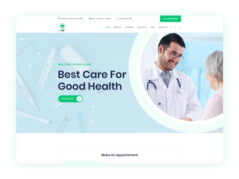 Medical Homepage Design medicine ux ui medical website design homepage typography clean ui material branding hospital clicnic medical