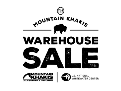 Warehouse Sale Logo ad newspaper music clothes cider fall rapids whitewater mountain logo sale warehouse