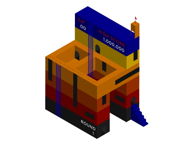 Dig Dug x Monument Valley game score layers illustration design arcade video games color geometric isometric monument valley dig dug
