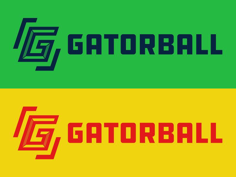 Gatorball Logo football blue green orange illustration design emblem mascot logo sport ball gator