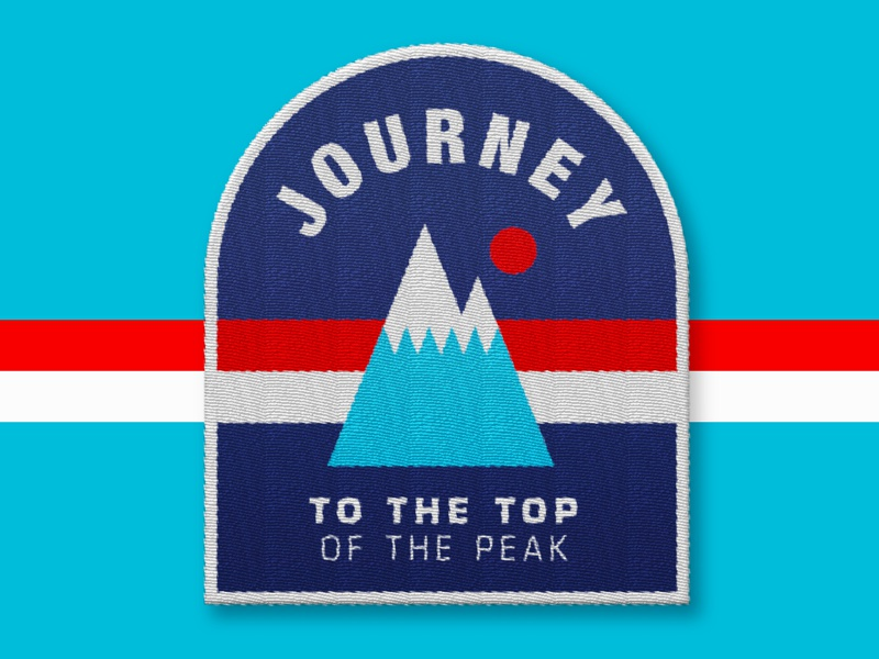 Mountain Patch minimalism sun stripes outdoors illustration red. design blue stitch patch icon mountain