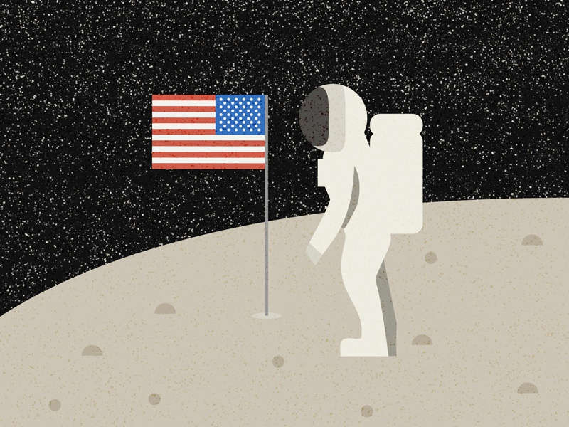 National Moon Day black planet nasa usa galaxy astronaut space moon design illustration