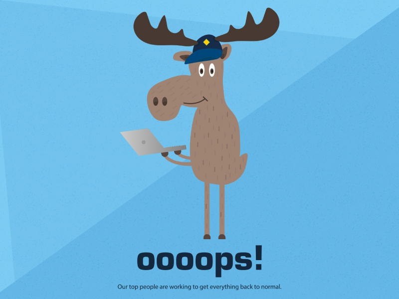 Marty Moose animal laptop website technology tech scouts blue drawing vector illustration moose