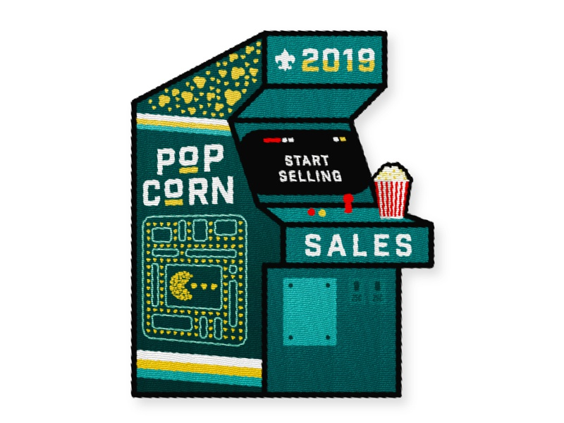 Popcorn Sales Patch - WIP start joystick dig dug retro video game arcade pacman animation illustration design patch popcorn
