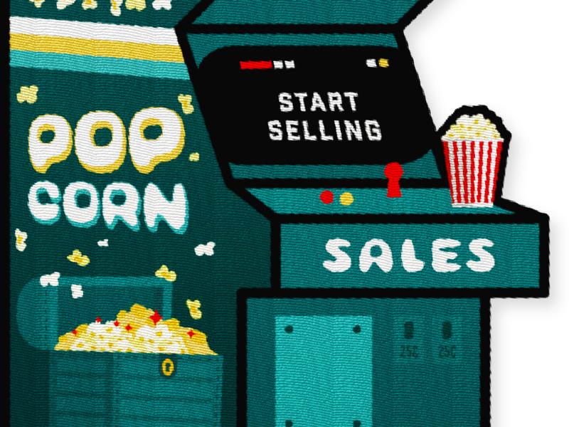 Popcorn Sales Patch - Pt. 2 gold green popcorn prize coins treasure retro video games arcade joystick start