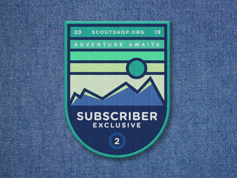 Subscriber Exclusive Patch green blue red denim sun outdoors vector illustration design patches patch mountains