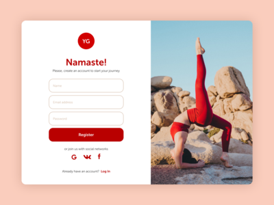 Yoga studio Sign Up | Daily UI #1 red white uidesign uiux ux ui sign up ui yoga namaste register sign up log in webdesign web desktop figma design daily ui 001 daily ui dailyui