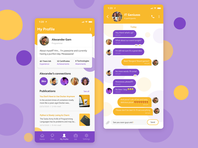 User Profile | Daily UI #6 yellow purple publications connections job programmer it message chat ios dailyui006 userprofile user mobile app mobile ui mobile uiux figma ux ui