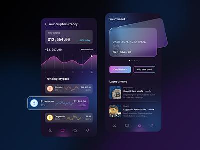 Mobile app for your finances vector design mobile app mobile finances cryptocurrency crypto product design figma uiux ux ui