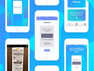 Reward app uxdesign uidesign offers reward coupon gradient blue app android ios