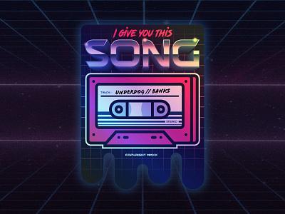 I Give You This Song Sticker music song cassette tape illustrator retro cassette illustration