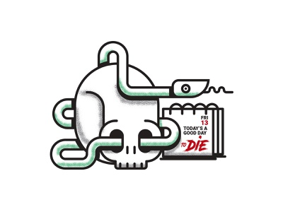 Today's A Good Day vector illustrator texture calendar snake skull illustration