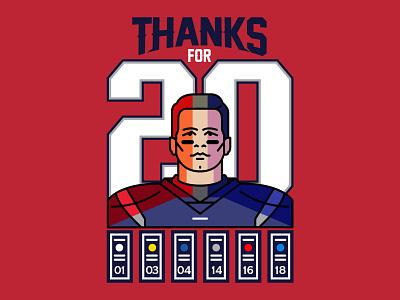 Thanks For 20 champion winning football portrait illustrator illustration patriots brady tom brady