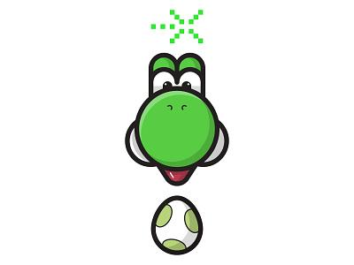 Yoshi super mario icons illustrator design sticker character illustraton yoshi smash super smash bros