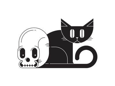 Halloween Skull & Cat halloween grid digital graphicdesign vector blackandwhite scary spooky bones skull cat illustrator illustration