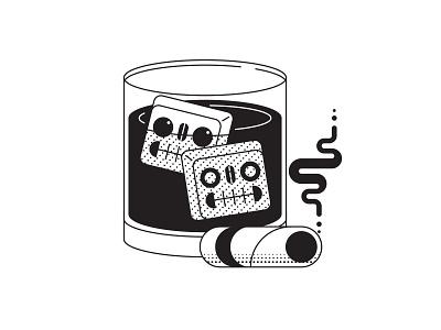 On The Rocks death cigar blackandwhite design illustrator illustration skulls ice whiskey drink