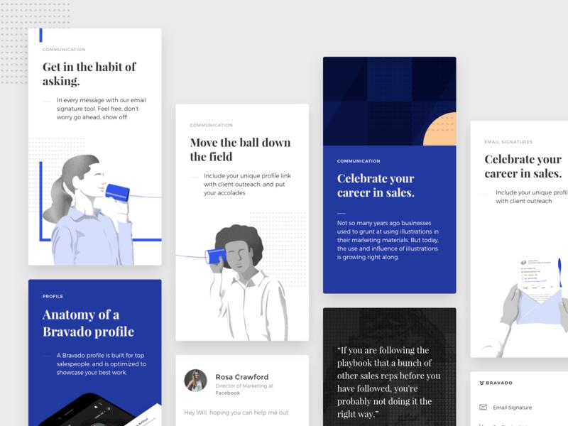 Bravado Homepage Assets startup visual identity brand montserrat playfair gold homepage design sketch illustration materialup blue ui testimonials sales
