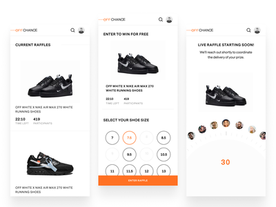 Just launched, check out OffChance.com raffle minimal black orange mobile web design spinning wheel figma mobile shoes nike mobile web
