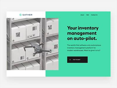 Gather copywriting branding homepage gsap drone