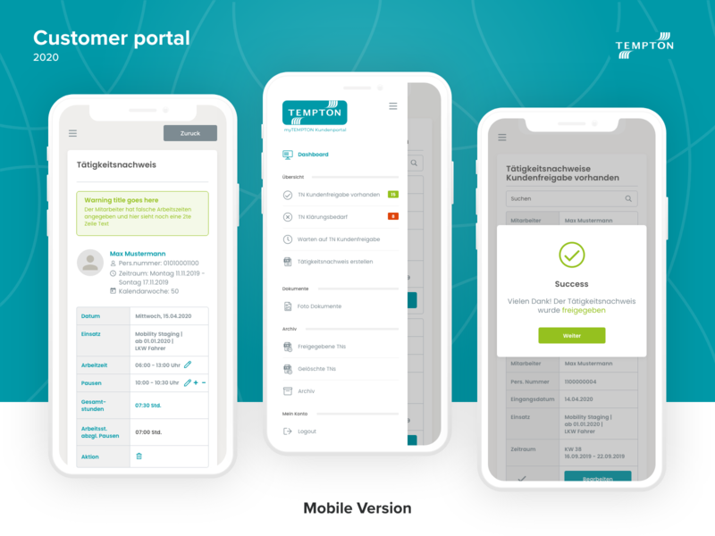 Customer Portal corporate design app menu details project service ux ui dashboard portal customer