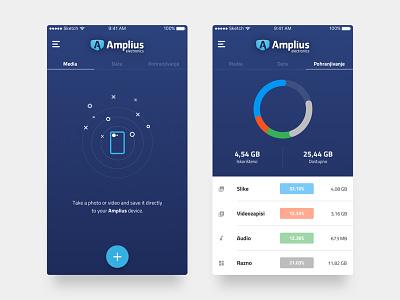 Storage App application mobile app tabs graph clean flat ios app storage
