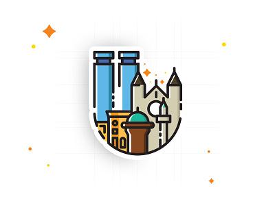 Sarajevo Sticker colors playful downtown sarajevo city sticker