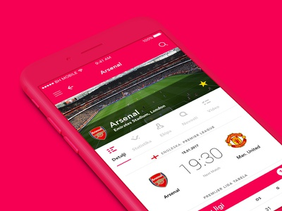 Results iOS Application profile scores arsenal football ios design mobile ux ui app