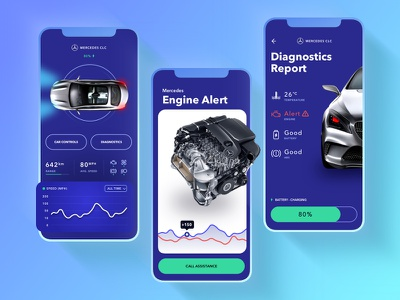 Car Control App ux ui app check engine car design apple mercedes iphonex mobile ios