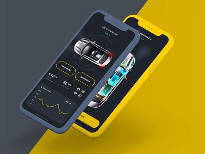 Smart car app dashboard cars engine mercedes car ios modern app clean ui