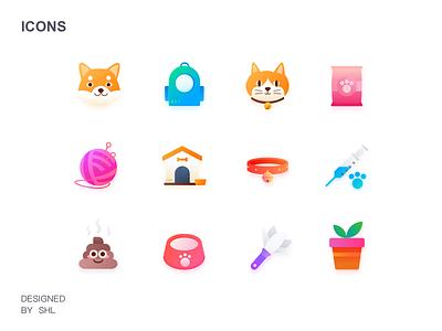 Hello Dribbble cat dog knapsack gradual change pets icon ui 图标