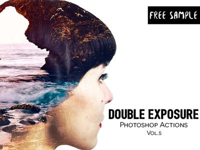 Free Double Exposure Photoshop Actions Vol.5 modern lightroom photo photography
