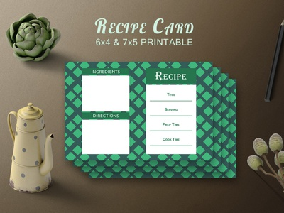 Free Recipe Card Printable Template V.19 kitchen italian health half-fold green great fresh food fantastic fabulous eat dinner dessert culinary cooking cookbook cook clean brochure beautiful
