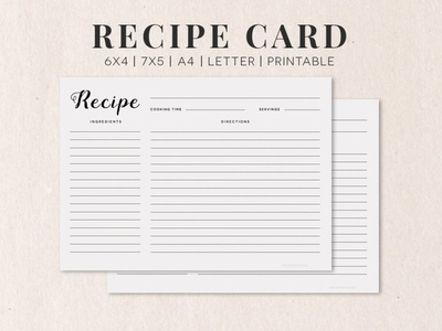 Free Cooking Recipe Card Template RC1 font branding illustration modern design recipe book recipe card printable printable flyer graphics template design templates recipe recipes