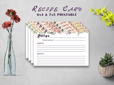Free Flowery Recipe Card Printable V32 recipes template planner plannerr recipe printable illustration colorful design modern