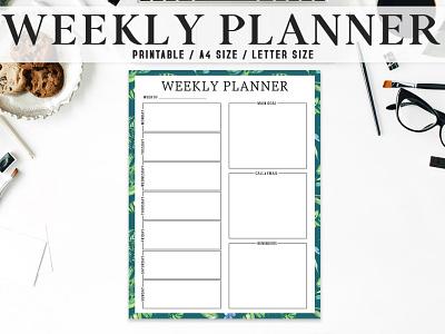 Free Artistic Weekly Planner Printable printable planner illustration