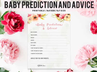 Floral Baby Prediction And Advice Printable V2 icon typography vector branding ui illustration modern design quality