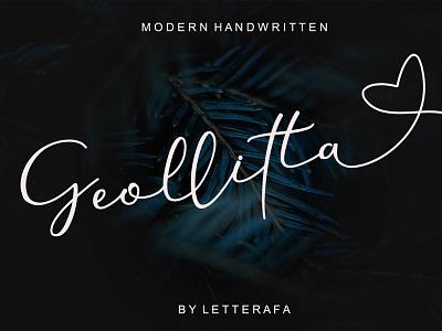 Free Geollitta Handwritten Font typeface t-shirt sign script post playful painting paint packaging opentype natural modern logo letter handwriting font flow elegant calligraphy brush