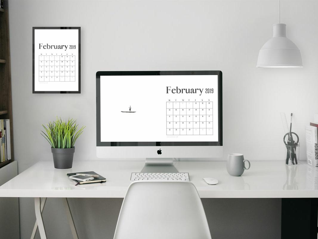 4k Uhd February 2019 Wallpaper Calendar For Desktop
