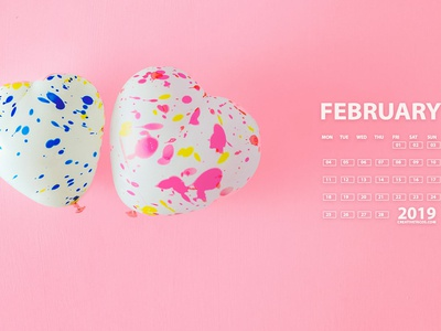 Love February 2019 4K UHD Calendar Wallpaper
