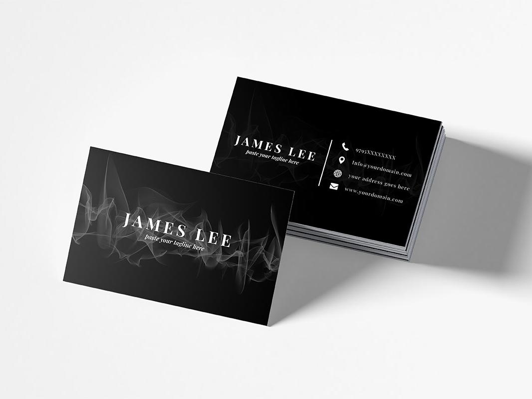 Free Elegant Business Card Template web shape psd professional print ready personal pattern modern minimal formal elegant digital design dark grey dark business card business black