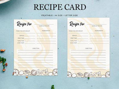 Free Recipe Card Printable Template