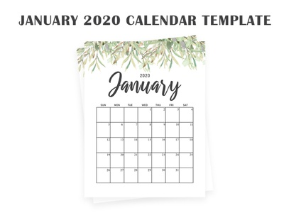 Free January 2020 Calendar Download