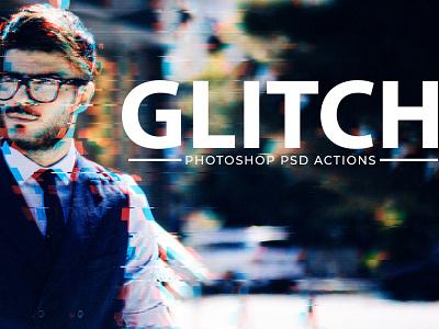 Free Glitch Effect PSD Photoshop Action Kit vhs vcr tv punk photo noise movie modern matrix interference future flick effect distortion cyberpunk 90s 80s photoshop glitch effects