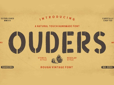 Free Ouders Stencil Font stencil typography typeface logotype handwritten handtype graffiti fashion display clothing brush
