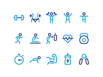 Jumpicon - Fitness ux ui line interface iconset icon fitness button app