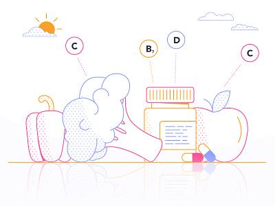 Vitamins dots pill pills broccoli paprika apple sun vitamins food loop gif colours motion flatdesign colour 2d design flat animation vector