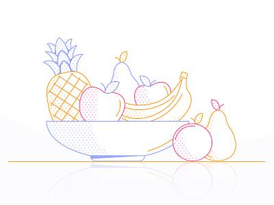 Fruit reflection vitamins apples pear apple pineapple banana bowl druit loop gif colours motion flatdesign colour 2d design flat animation vector